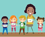Illustration kids and a teacher