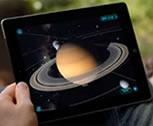 A kid using an iPad