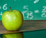 Apple on a classroom table