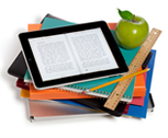 Classroom material: books, an iPad, pencils