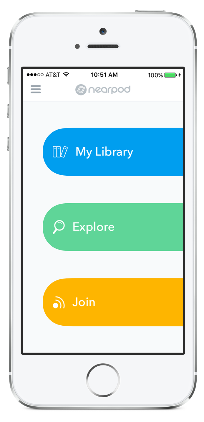Nearpod home panel in your iPhone