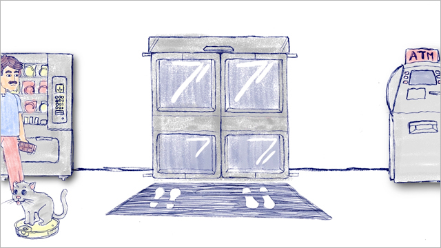 An illustration of a man walking inside a shopping center where you can see the main door of the shopping and next to it you will find an ATM and a candy machine.