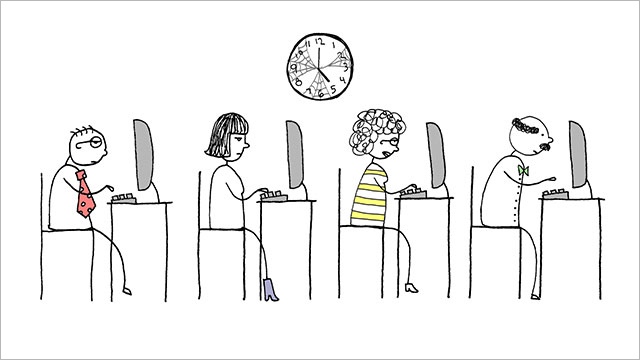 An illustration of four persons on a row, working on their computer and a big clock on top of them.